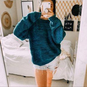 Vtg ribbed teal daze oversized boho sweater